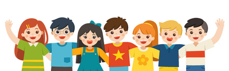 Illustration pour Group portrait of smiling boys and girls. Happy student standing together and waving hands. Isolated on white background. - image libre de droit
