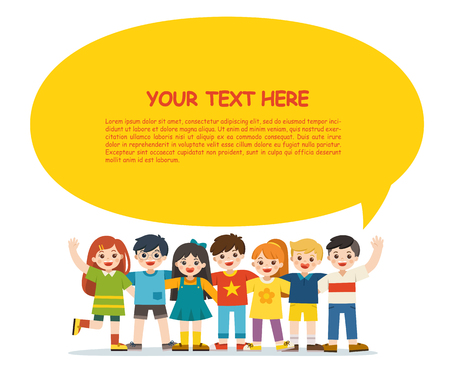 Illustration pour Back to School. Group of smiling boys and girls. Happy student standing together and waving hands. Isolated on white background. Template for advertising brochure. Children look up with interest. - image libre de droit