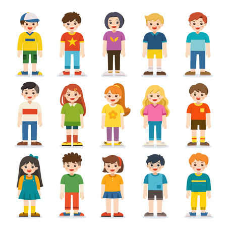 Illustration for Group of smiling boys and girls. Happy student standing together. Isolated on white background. - Royalty Free Image