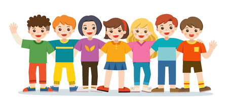 Illustration pour Group of smiling boys and girls. Happy student standing together and waving hands. Isolated on white background. - image libre de droit