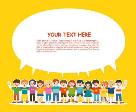Illustration pour Group of smiling boys and girls. Happy student standing together and waving hands. Isolated on white background. Template for advertising brochure. Children look up with interest. Back to School. - image libre de droit