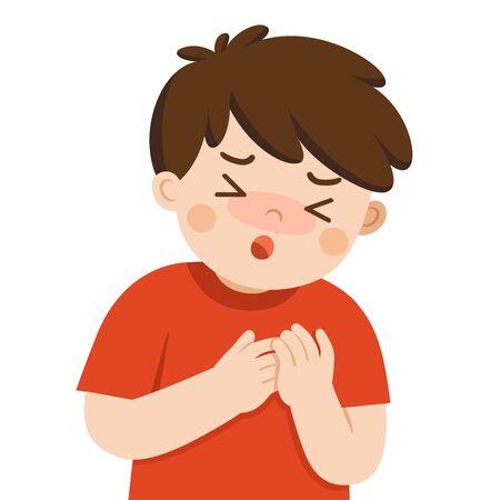 Illustration pour Sick cute boy with suffering from chest pain on white background. Flu symptoms. Health problem - image libre de droit