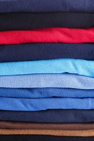 polo shirts stacked close up