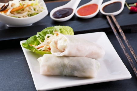 Spring rolled with different sauces