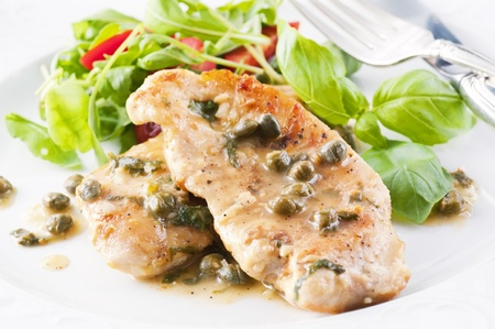 Chicken Piccata with capers and white wine sauce