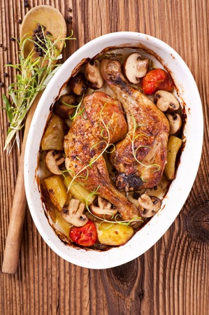 chicken roasted with the mushrooms and potato