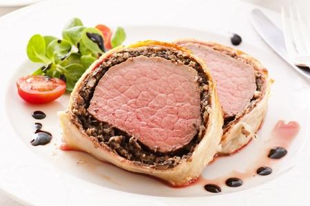 Beef Wellington with salad