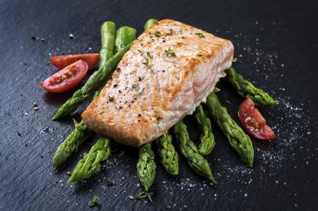green asparagus with salmon