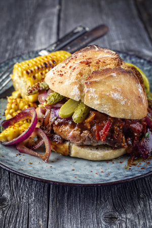 Barbecue Hamburger with Vegetable and Chili Relish on Plate