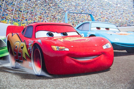 Sterlitamak, Russia - 07. 02. 2016: Disney Pixar CARS race show cartoon hero, cartoon character Walt Disney movies.