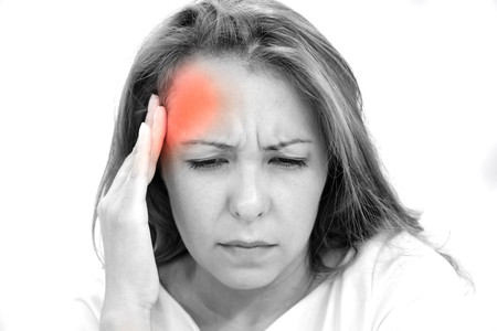 girl suffers from terrible headaches and compresses the head with fingers. Forget and remember something, suffer from illness