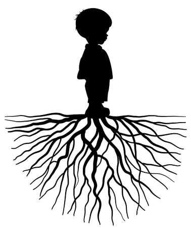 Illustration for The silhouette of a child with root - Royalty Free Image