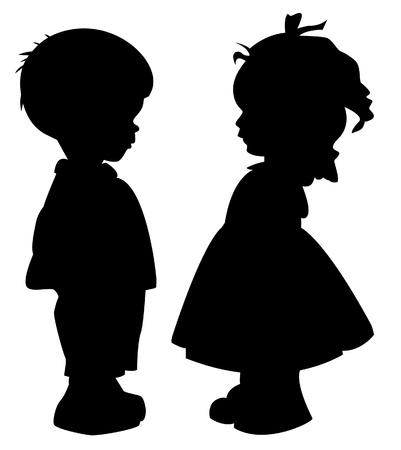 Ilustración de The two silhouette of a boy and girl - Imagen libre de derechos