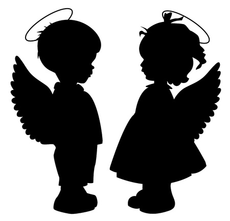Two black angel silhouettes isolated on white