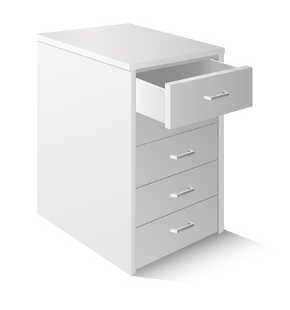 Open drawer cabinet isolated on white