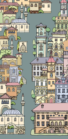 The narrow street of European cities.Different shape old houses.Facades of variegated buildings.Vintage facades.Sketch,hand drawn,cartoon style.The city is divided into two parts.Europe and orient