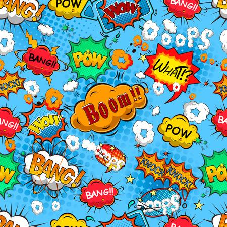 Comic speech bubbles seamless pattern vector