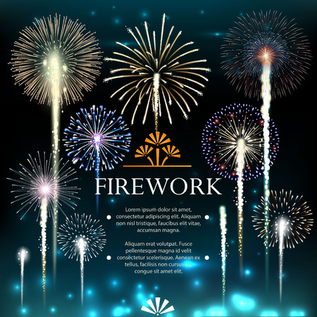 Ilustración de Set of fireworks, festive banner, invitation to a holiday. Vector illustration - Imagen libre de derechos