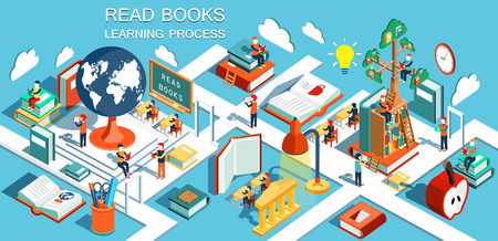 Illustration pour The process of education, the concept of learning and reading books in the library and in the classroom. Online education Isometric flat design illustration - image libre de droit