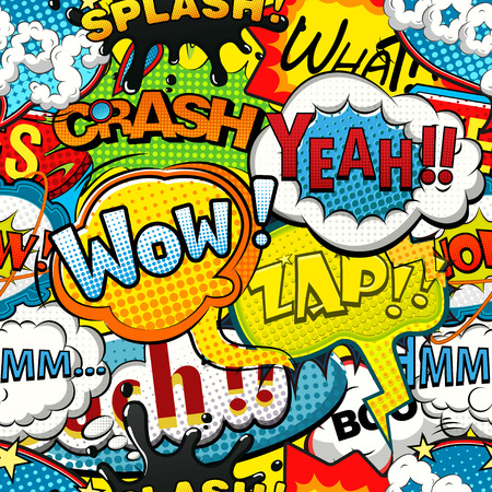 Illustration for Multicolored comics speech bubbles seamless pattern - Royalty Free Image