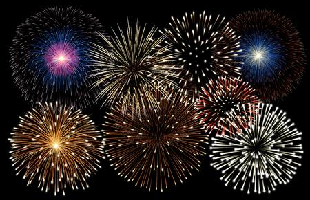 Illustration pour Realistic fireworks background vector - image libre de droit