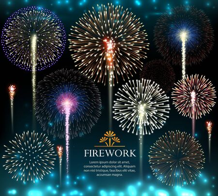 Illustration for Set of fireworks, invitation to a holiday. Vector illustration - Royalty Free Image