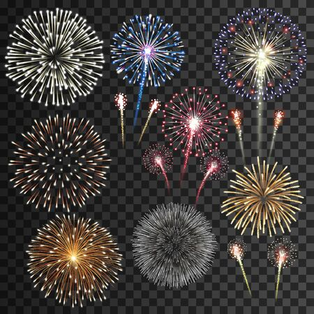 Illustration pour Big set of isolated fireworks vector illustration - image libre de droit
