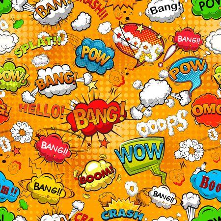 Ilustración de Comic book black and white page template divided by lines with speech bubbles. Vector illustration. - Imagen libre de derechos