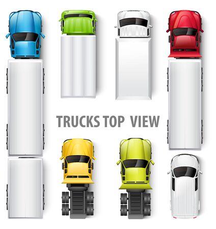 Illustration pour Trucks top view. Vector illustration - image libre de droit
