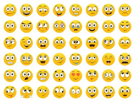 Illustration for Set of Emoticons. Emoji. Smile icons. Isolated vector illustration on white background - Royalty Free Image