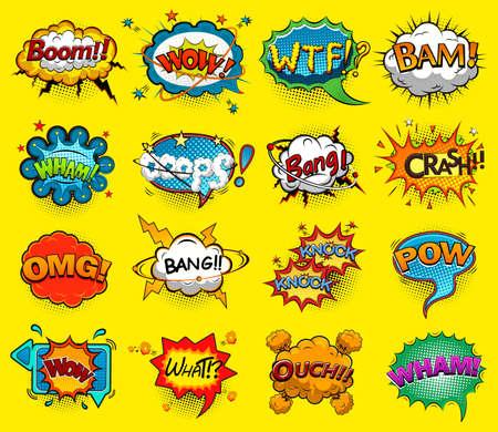 Illustration pour Comic speech bubbles screams, phrases, sounds vector illustration - image libre de droit