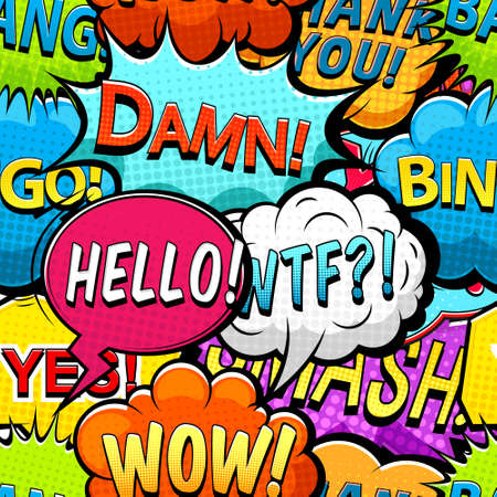 Illustration for Multicolored comics speech bubbles seamless pattern vector - Royalty Free Image