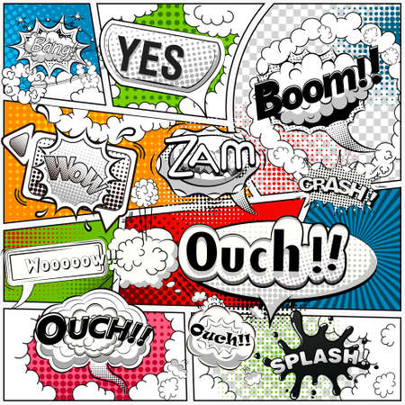 Ilustración de Comic book page divided by lines with black and white speech bubbles, sounds effect. Retro background Mock-up. Comics template. Vector illustration - Imagen libre de derechos
