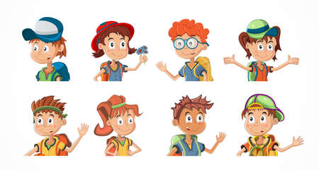 Illustration pour Bundle of cartoon children portraits. Collection of kids avatars with different hairstyle and skin colors. Child expression faces little boys and girls vector illustration - image libre de droit