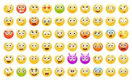 Illustration pour Set of Emoticons. Emoji. Smile icons. Isolated vector illustration on white background - image libre de droit
