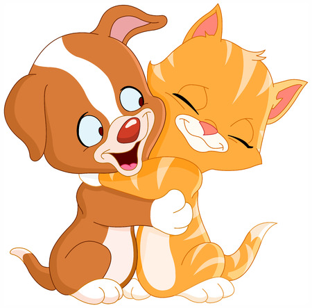 Cute puppy and kitten hugging each other