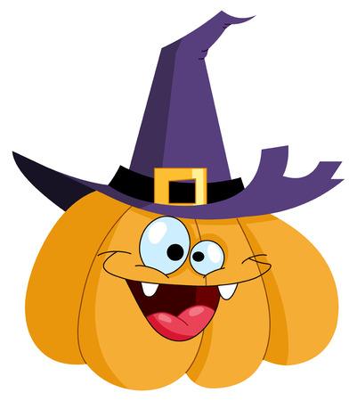 Illustration pour Cartoon pumpkin wearing a witch hat - image libre de droit