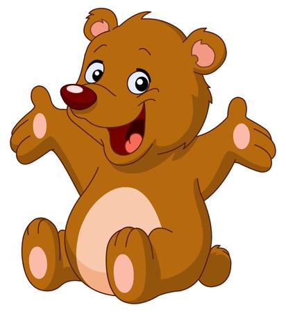 Ilustración de Happy teddy bear raising his arms - Imagen libre de derechos