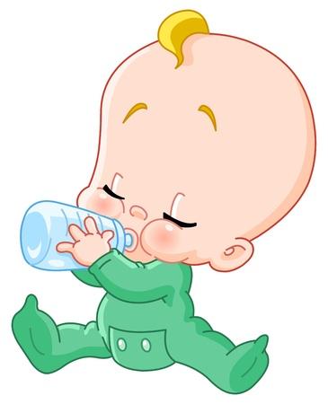 Illustration for Baby drinking bottle - Royalty Free Image