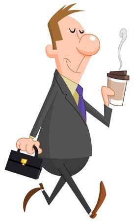 Illustration pour Businessman with paper coffee cup - image libre de droit