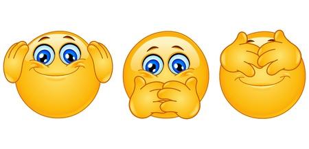 Emoticon posing like ᅵthree monkeysᅵ