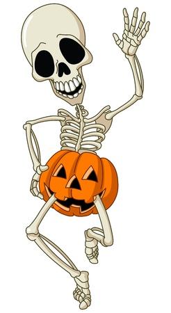 Illustration pour Happy dancing skeleton wearing a pumpkin - image libre de droit