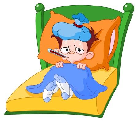 Illustration pour Sick kid lying in bed - image libre de droit