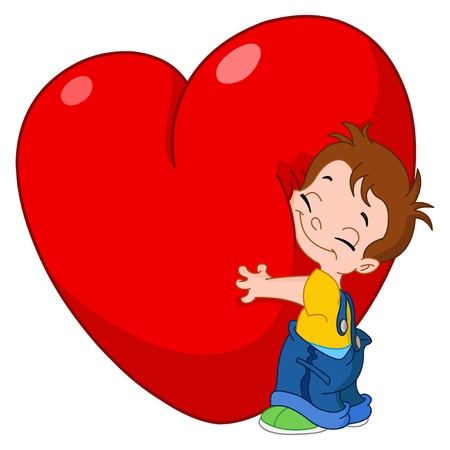 Little kid hugging a big heart