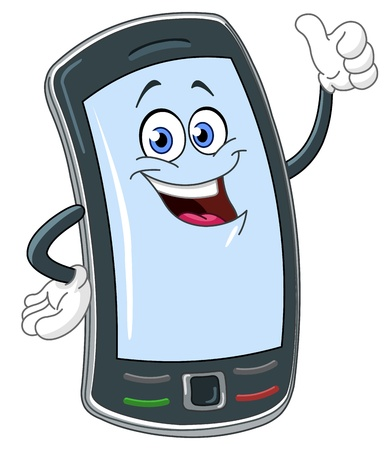Smart phone cartoon with thumb up
