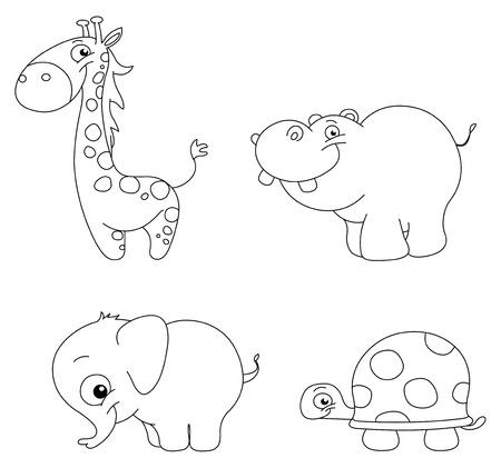 Ilustración de Outlined cute animal set: giraffe, hippopotamus, elephant and turtle - Imagen libre de derechos