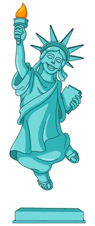 Statue of liberty jumping in the air