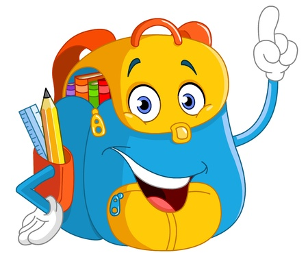 Foto für Cartoon backpack pointing with his finger - Lizenzfreies Bild