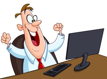 Happy man looking at his computer screen
