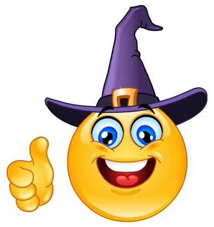 Illustration pour Emoticon with witch hat showing thumb up - image libre de droit